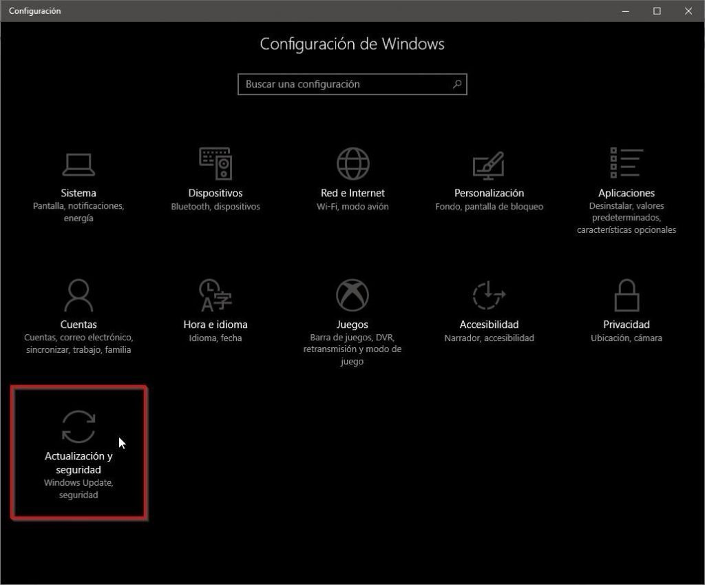 Actualización y seguridad en Windows 10