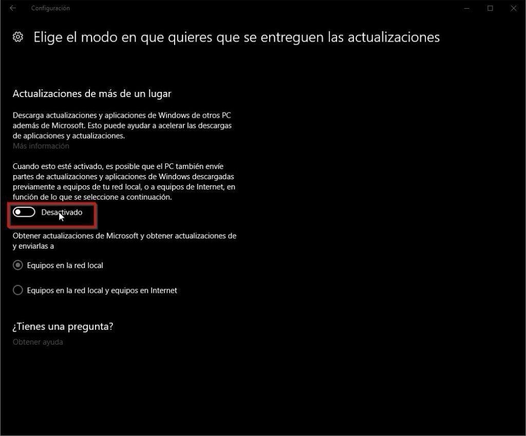 Actualización y seguridad en Windows 10