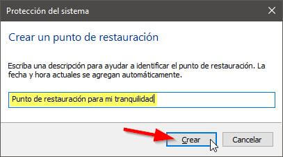 Crear un punto de restauración en Windows