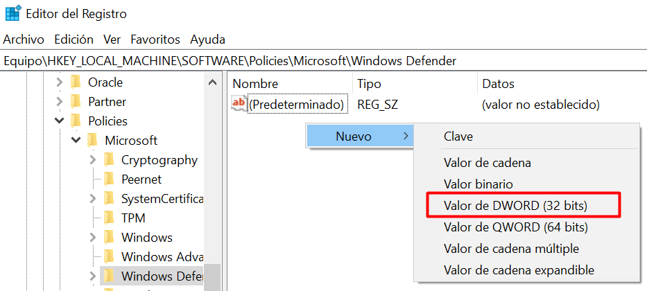 Desactivar Windows Defender desde el registro de Windows