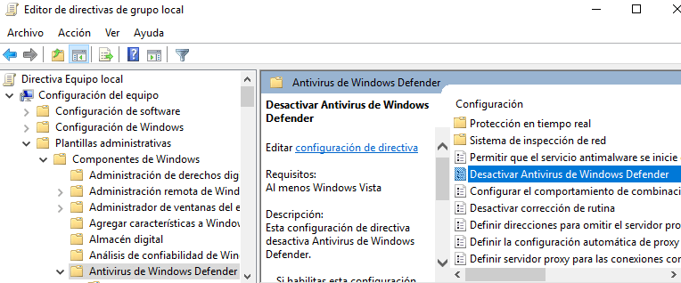 Desactivar Windows Defender por política de equipo