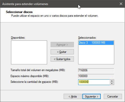 Extender volumen disco Windows