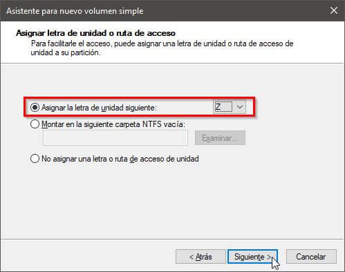 Crear partición Windows
