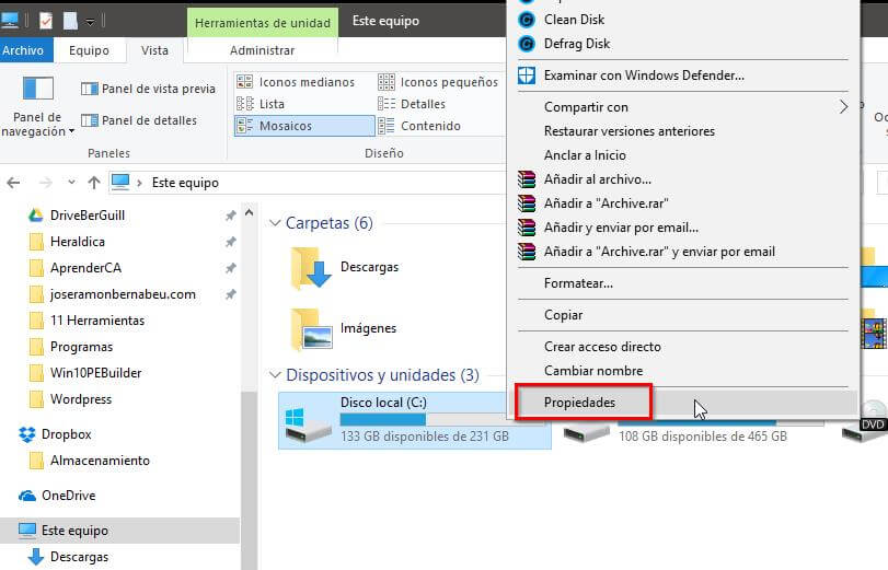 Optimizar el disco duro en Windows 10