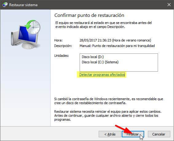 Restaurar Windows a un punto anterior